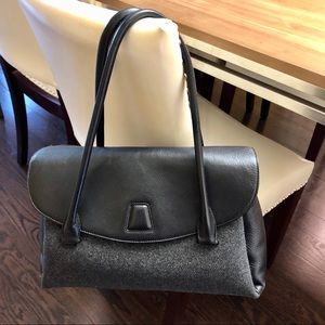 Akris Alba Gray Wool Black Leather Luxury Handbag